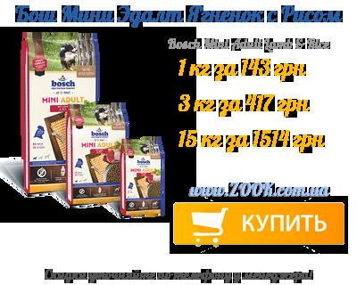 Корм для собак Бош Мини Эдалт Ягненок с Рисом купить в Украине дешево